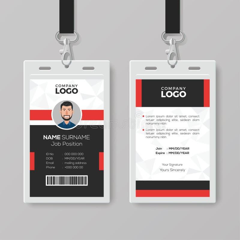 Professioneel Identiteitskaart met Rode Details stock illustratie