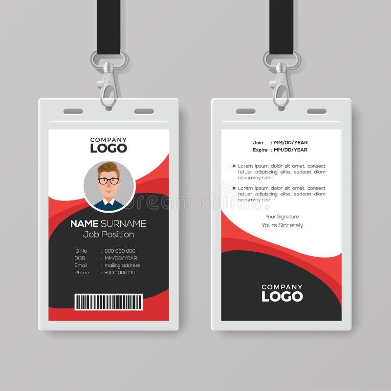 Professioneel Identiteitskaart met Rode Details vector illustratie