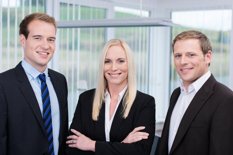 Professioneel jong gelukkig team in het bureau stock foto