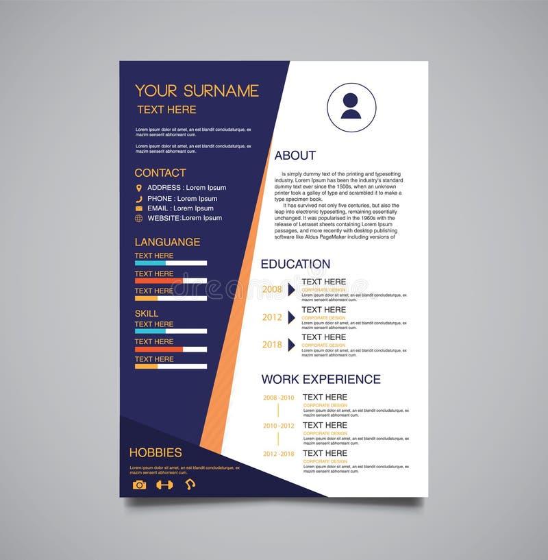 Professioneel minimalistisch donkerblauw malplaatjecurriculum vitae royalty-vrije illustratie