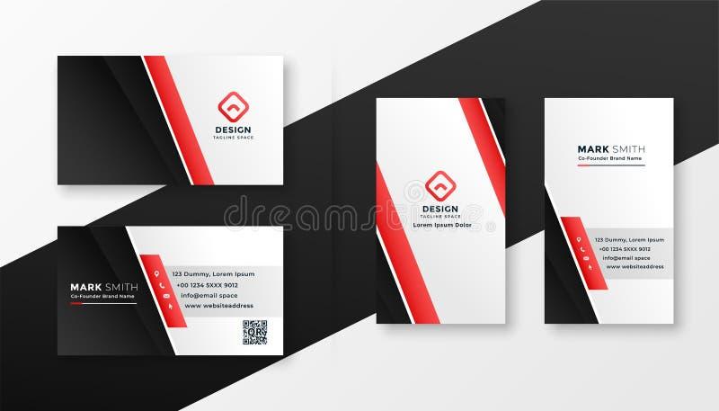 Professioneel rood adreskaartjeontwerp vector illustratie