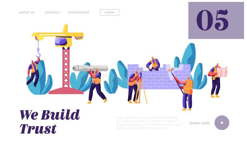 Professioneel Team Builder in Eenvormig in het Landingspagina van de Procesbouw Arbeidersingenieur op het Werk van het Bouwstijlh stock illustratie