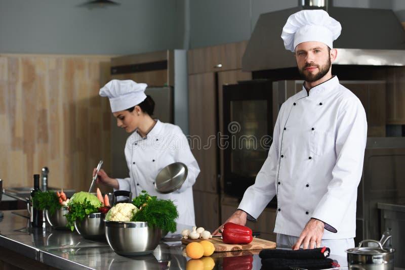 Professioneel team van koks bezig bij modern stock fotografie