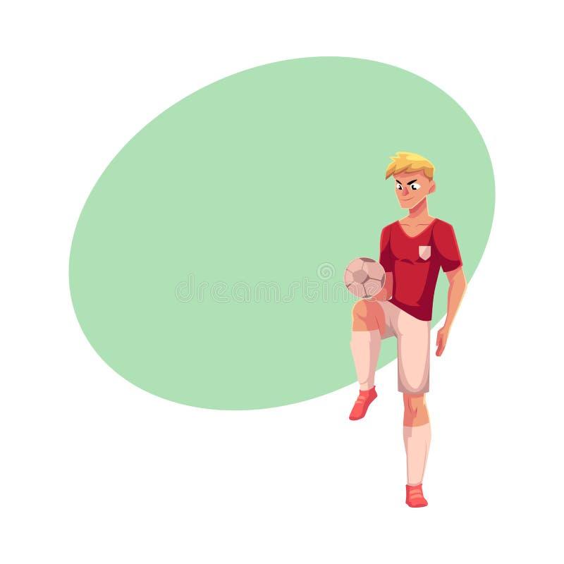 Professioneel voetbal, voetbalster die keepie-uppie, bal jongleren met, die omhoog schoppen spelen royalty-vrije illustratie