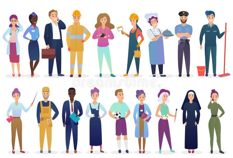 Professionele arbeidersmensen geplaatst zich verenigt Verschillende beroepswerkgelegenheid en groepswerk vectorillustratie vector illustratie