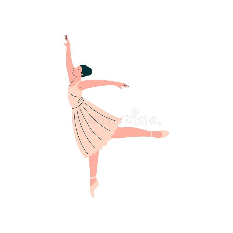 Professionele Ballerina die Witte de Dans Vectorillustratie dragen van het Kledings Dansende Klassieke Ballet vector illustratie