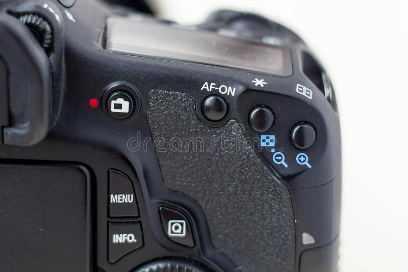 Professionele camera met lens dichte omhooggaand royalty-vrije stock foto's