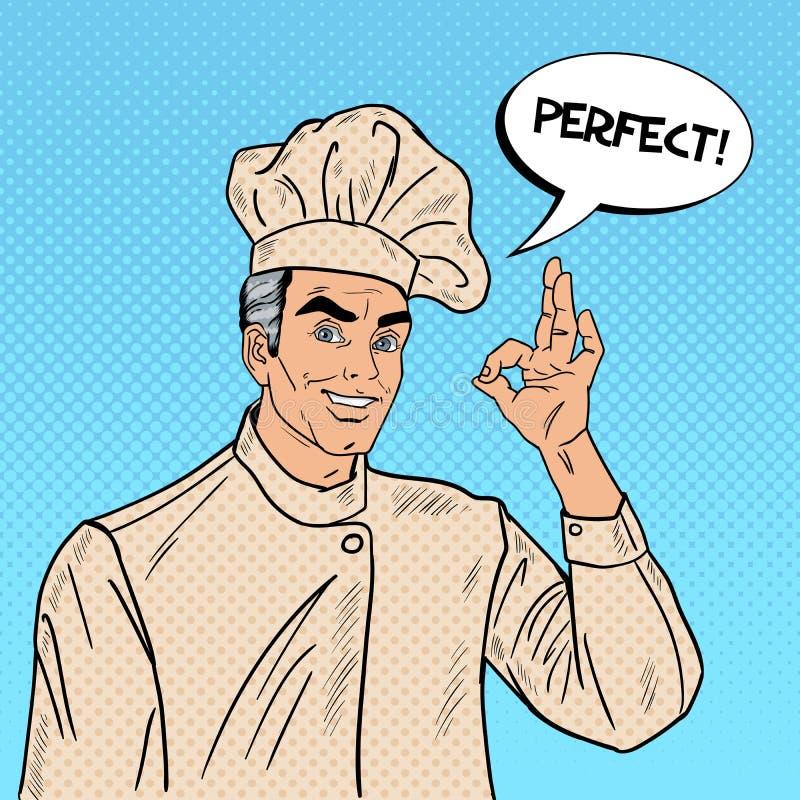 Professionele Chef-kok Cook O.K. Gesturing Pop-art vector illustratie