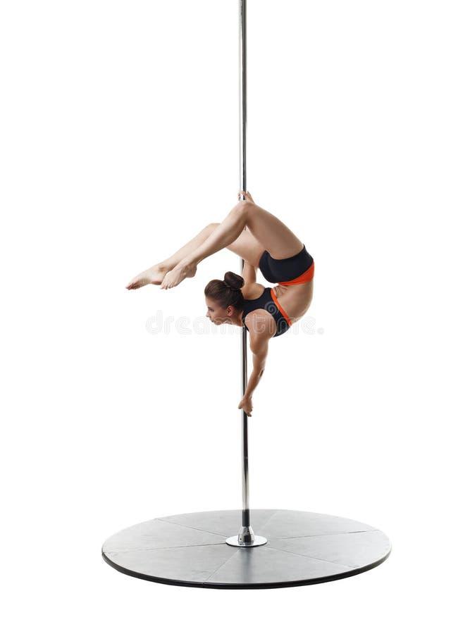 Professionele danser op pyloon Sluit omhoog stock afbeeldingen