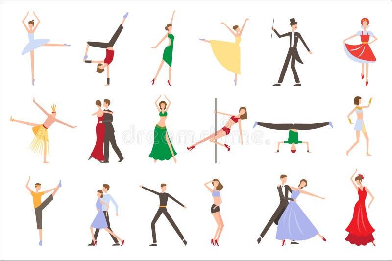 Professionele dansers die verschillende stijlen van het dansen uitvoeren Mensen in kleurrijke kostuums Jonge mannen en vrouwen op vector illustratie