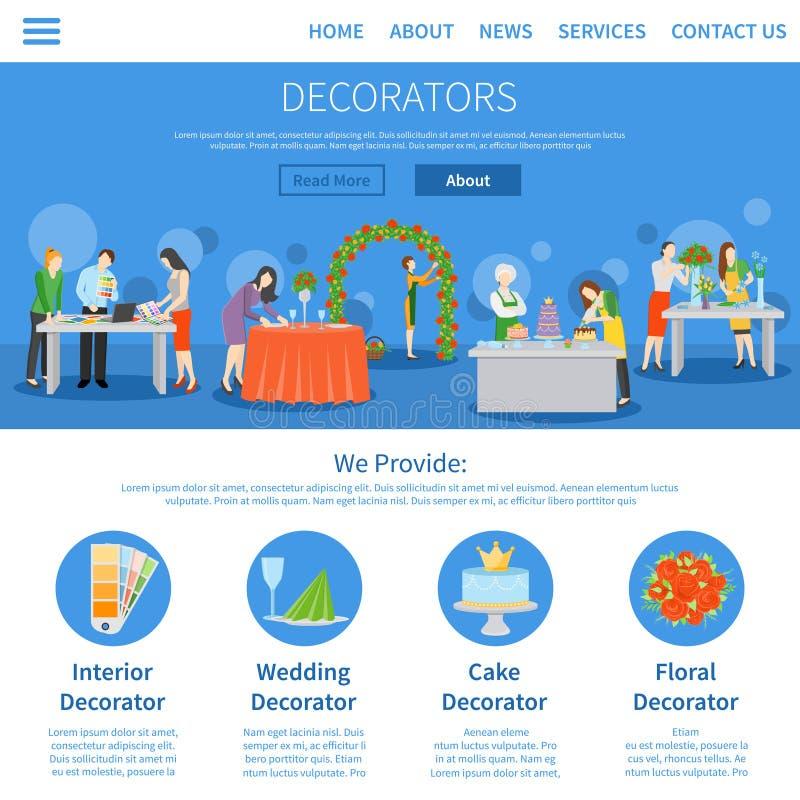 Professionele Decorateurs Één Pagina Vlak Ontwerp royalty-vrije illustratie