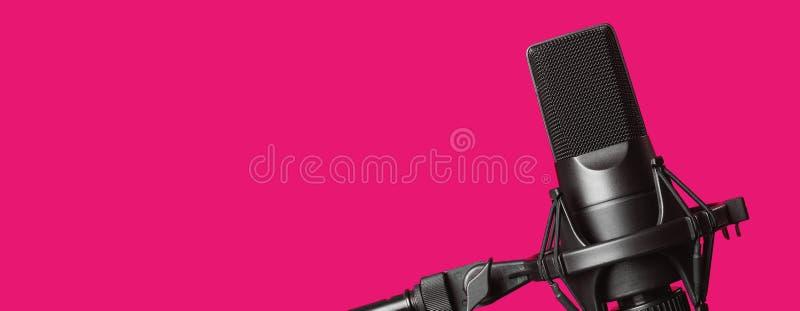 Professionele die microfoon op roze wordt geïsoleerd royalty-vrije stock foto's