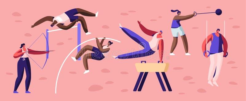 Professionele Geplaatste Sportactiviteiten De mannelijke en Vrouwelijke Training van Sportmannenkarakters Hoogspringen, Springpaa royalty-vrije illustratie