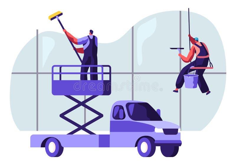 Professionele Industriële Deep Cleaning Company Team Equipment, de Voertuigdienst Mensen in het Eenvormige het Schoonmaken Venste royalty-vrije illustratie