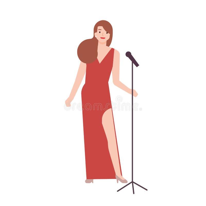 Professionele jazzzanger, vocalist of zangeres die elegante rode avondjurk dragen en microfoontribune houden wijfje vector illustratie