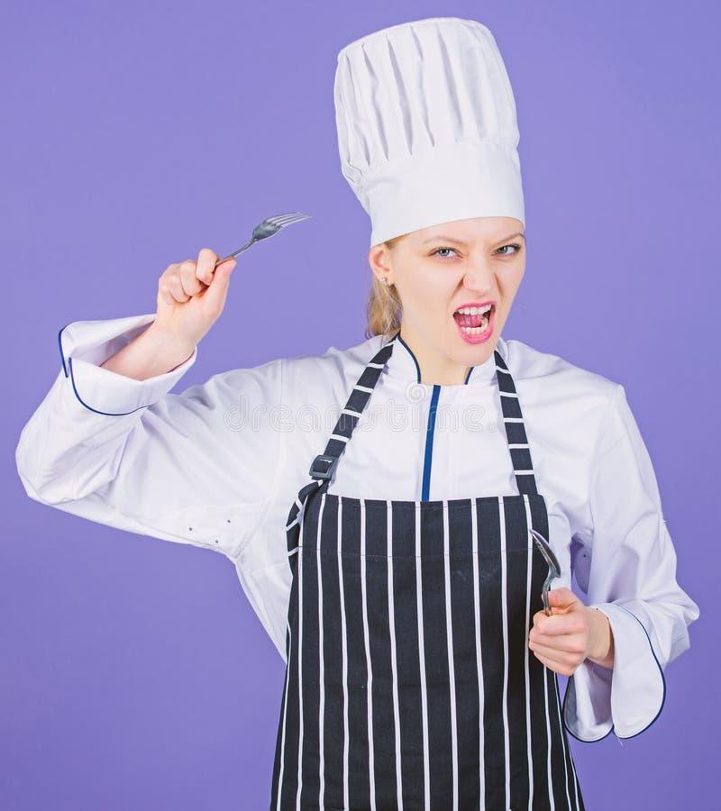 Professionele kok van culinaire school Culinaire kunstenacademie Culinair schoolconcept Greep van de vrouwen de professionele che stock fotografie