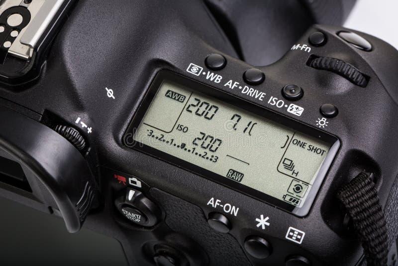 Professionele moderne DSLR-camera stock afbeeldingen