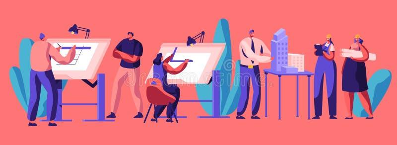 Professionele Planningsarchitectuur van Huis Karaktertechniek Bouw Ontwikkeling en de Bouwlay-out Vlak beeldverhaal royalty-vrije illustratie