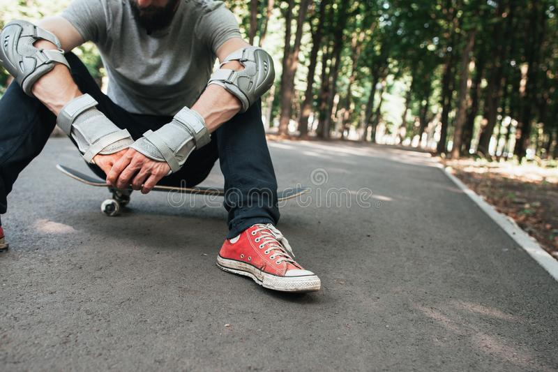 Professionele schaatser na harde competities royalty-vrije stock afbeeldingen