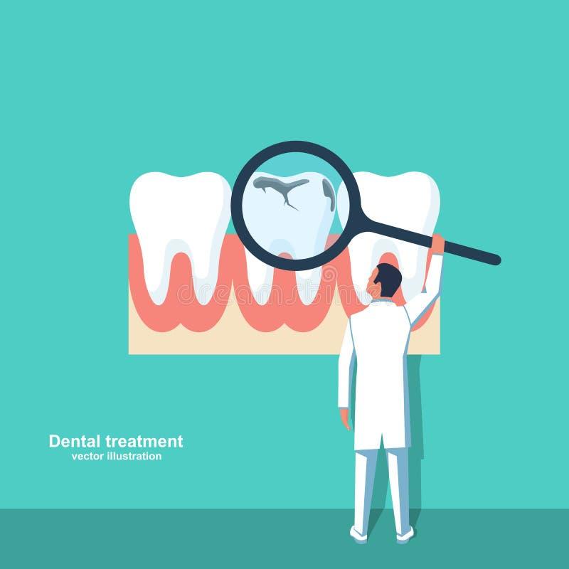 Professionele tandarts onderzoekt een slechte tand Stamatologisch concept stock illustratie