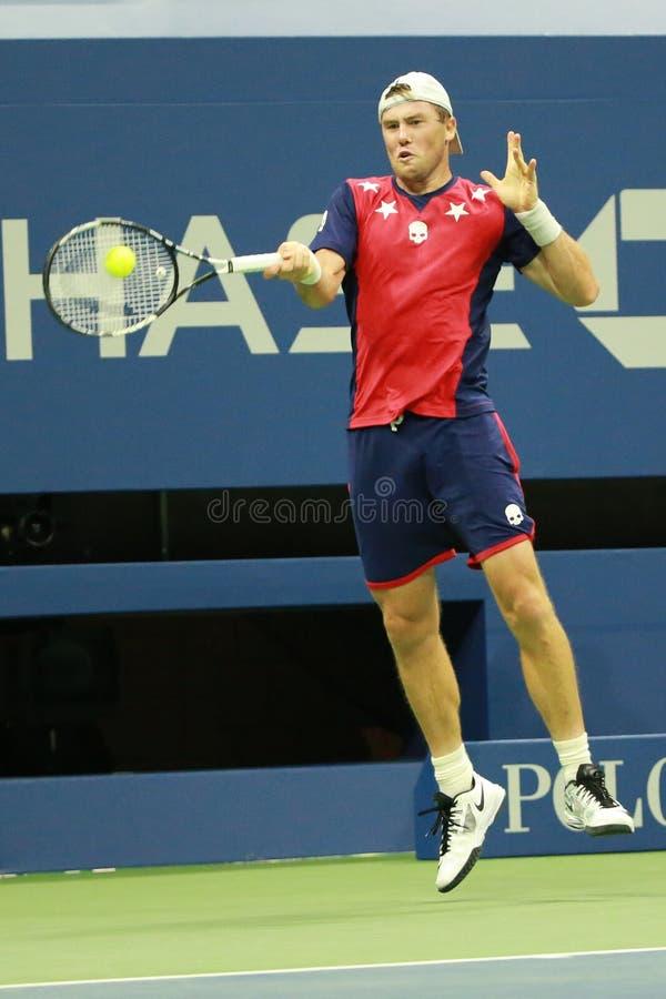 Professionele tennisspeler Illya Marchenko van de Oekraïne in actie tijdens zijn ronde gelijke 3 bij US Open 2016 royalty-vrije stock afbeelding
