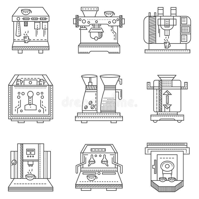 Professionele vlakke de lijnpictogrammen van koffiemachines stock illustratie