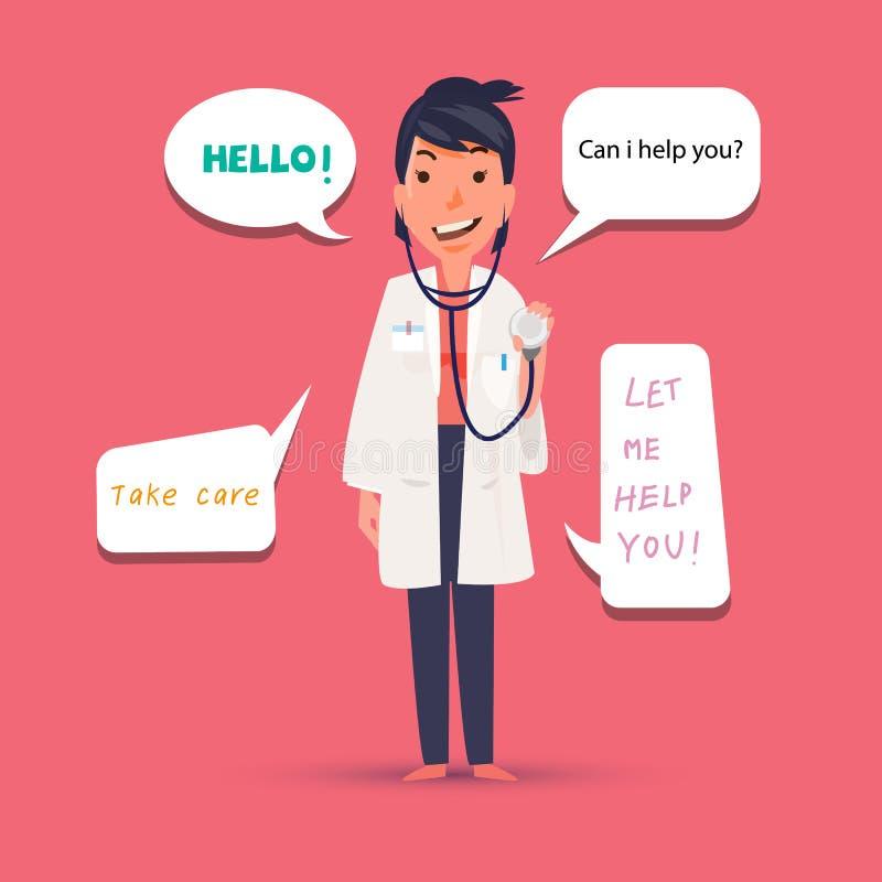 Professionele vrouw arts die met toespraakbel spreken leuke kar stock illustratie