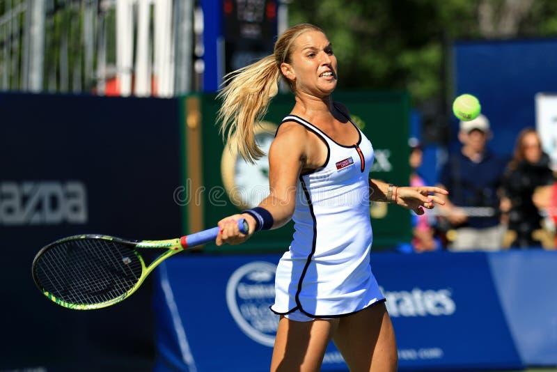 Professionele vrouwelijke tennisspeler Dominika Cibulkova royalty-vrije stock foto's