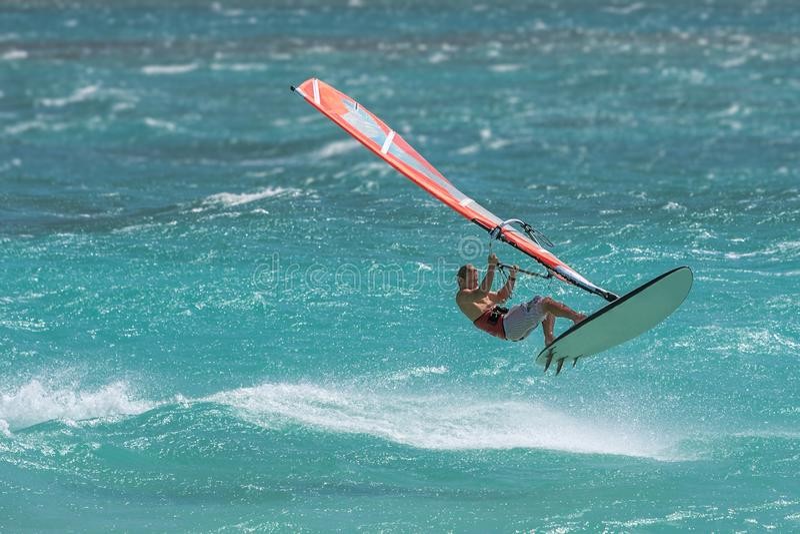 Professionele windsurfer royalty-vrije stock fotografie