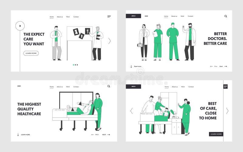 Professionell sjukvårdspersonal på arbetsplatsen i länkning av webbplatser på sjukhus Läkare och sjuksköterskor arbetar med patie vektor illustrationer