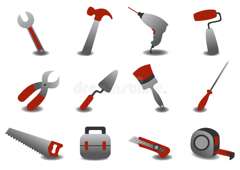 Professionell som reparerar hjälpmedelsymboler royaltyfri illustrationer