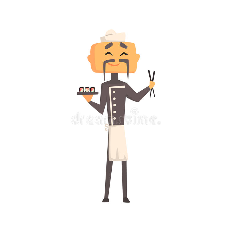 Professionelle asiatische Platte Koch-In Classic Doubles Breasted Grey Jacket And Toque With von Sushi und von Stöcken lizenzfreie abbildung