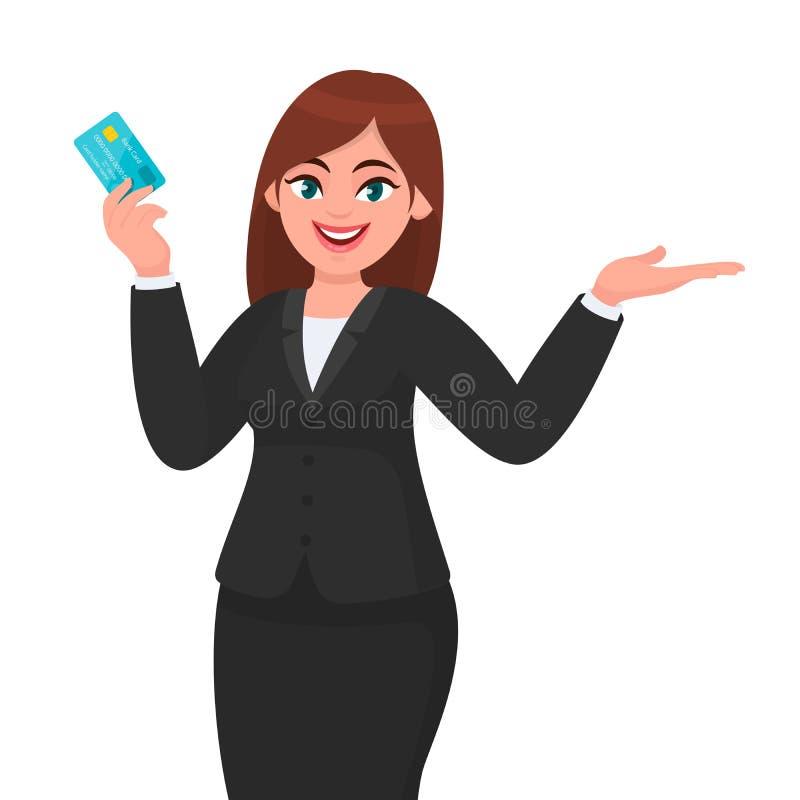 Professionelle junge Geschäftsfrauvertretung/Halten der Scheckkarte des Kredites/debit/ATM und Gestikulieren der Hand, um Raumsei vektor abbildung