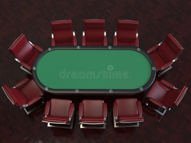 Professionelln för pokerleken klädde med filt tabellen och stolar stock illustrationer