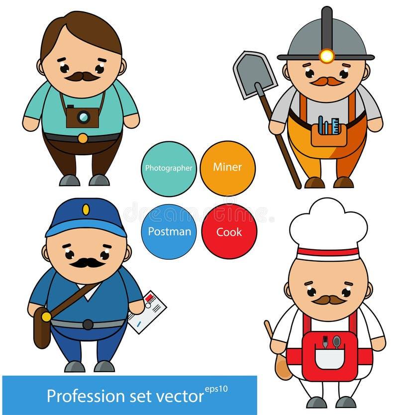 Professioni fissate Fotografo, minatore, postino, caratteri del cuoco unico del cuoco nello stile del fumetto Illustrazione di ve illustrazione vettoriale