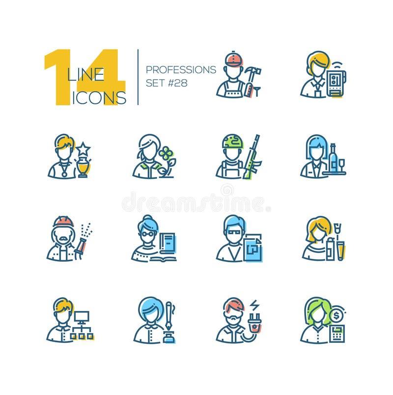 Professioni - insieme della linea icone di stile di progettazione royalty illustrazione gratis