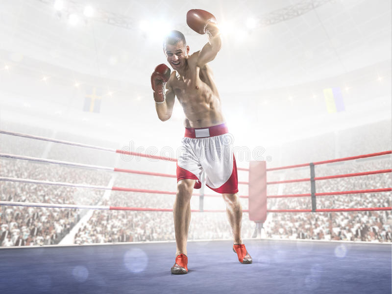Professionl boxer is standing on the ring. Professionl boxer is standing on the grand arena royalty free stock photos