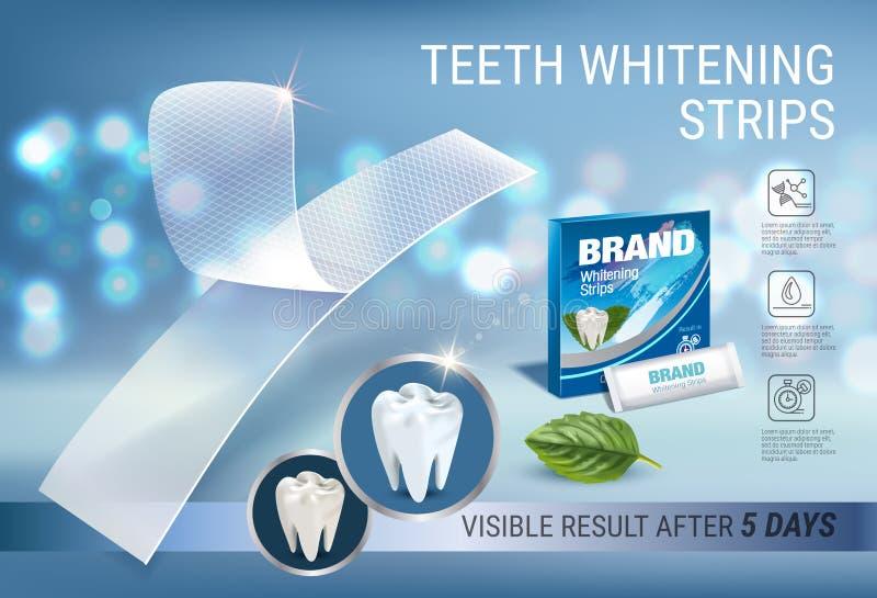 Professionnel blanchissant des annonces de rayures Dirigez l'illustration 3d avec le blanchiment dentaire plus blanc et en bon ét illustration de vecteur