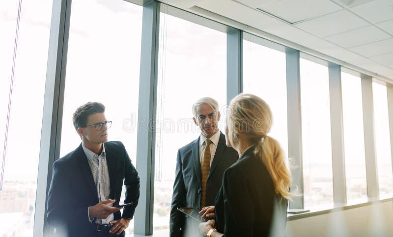 Professionnel d'entreprise parlant du travail dans le bureau image libre de droits