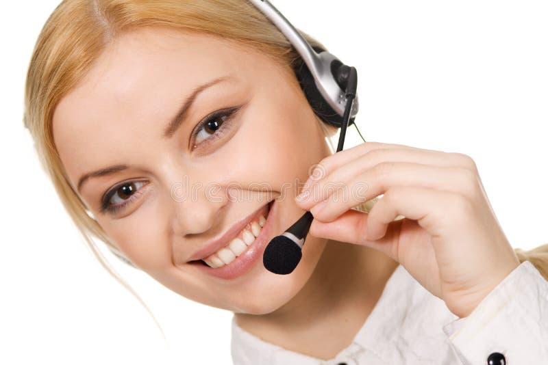 Professionnel de centre d'attention téléphonique photo stock