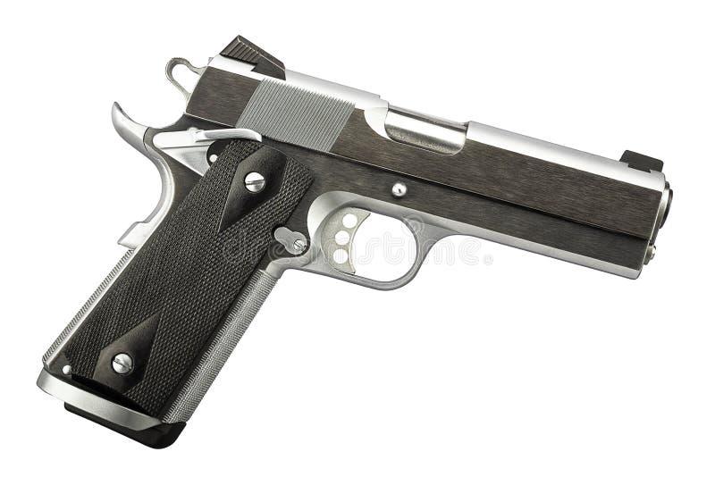 1911 professionnel de pistolet en métal de 45 pistolets d'isolement photographie stock