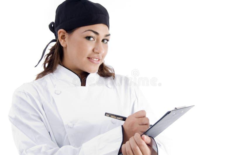 professionnel féminin de carte de chef photos stock