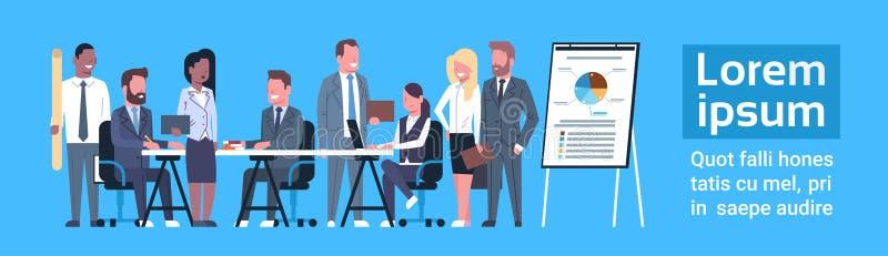 Professionnels d'hommes d'affaires de Team Brainstorming Concept Group Of d'affaires se réunissant discutant des données du march illustration de vecteur