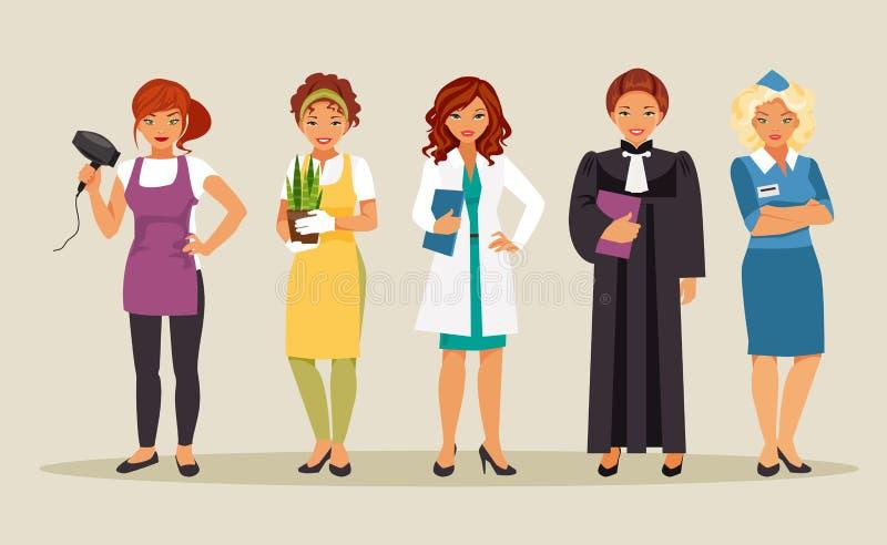 Professions 3 de femmes illustration libre de droits