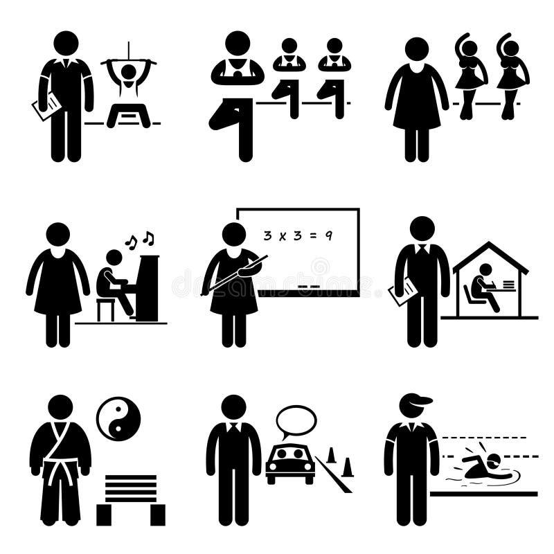 Professions de Trainer Teacher Jobs d'instructeur d'entraîneur  illustration de vecteur