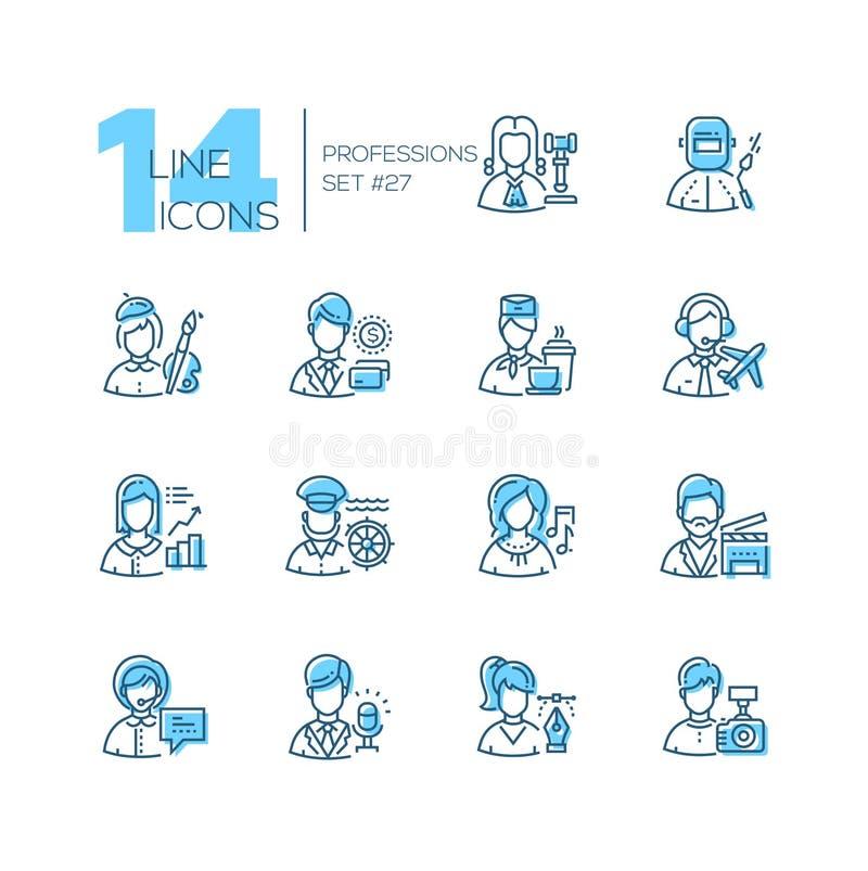 Professions - ensemble de ligne icônes de style de conception illustration de vecteur