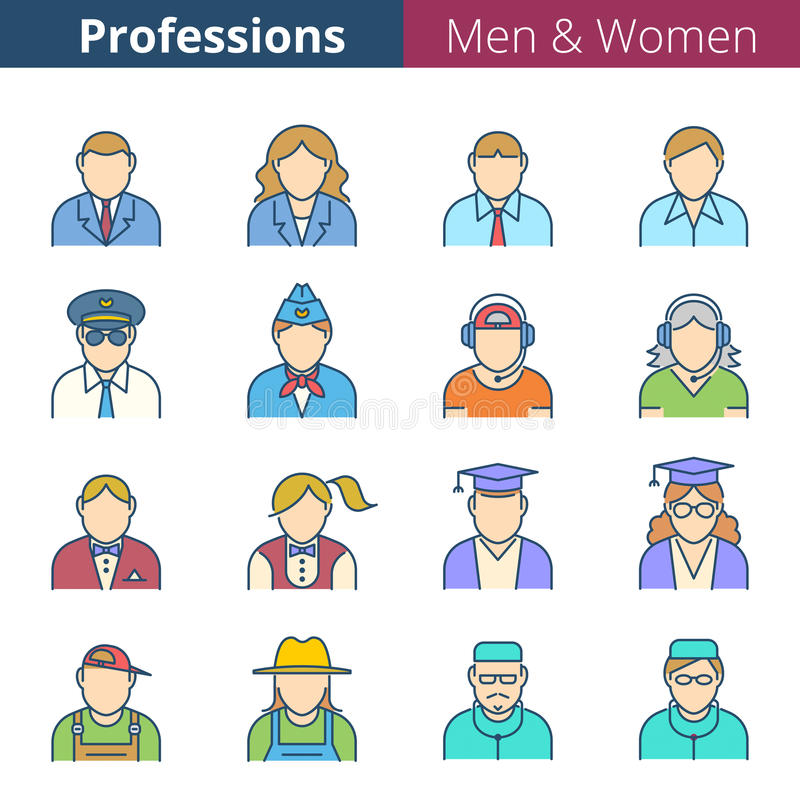 Professions et professions de personnes illustration libre de droits