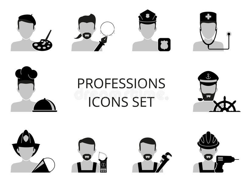 Professions icons set. Ten black and white professions icons set stock illustration