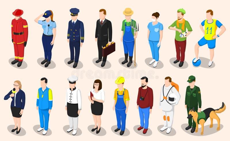 Professions Isometric People Set royalty free illustration