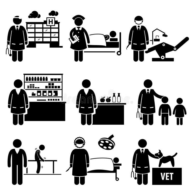 Professions médicales Caree des travaux d'hôpital de soins de santé illustration stock